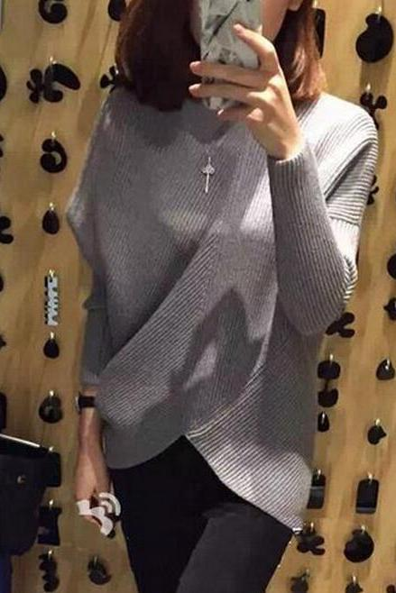 New winter hypotenuse hem coarse needle sweater noise sets irregular bats knitwear SUPER COOL