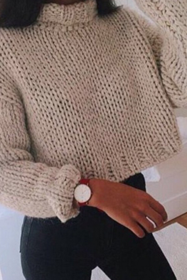 Solid color high-necked sweater short paragraph Women