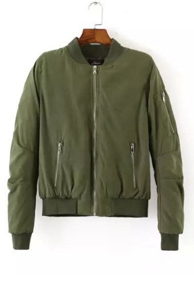 Army Green Bomber Jacket with Side Zipper