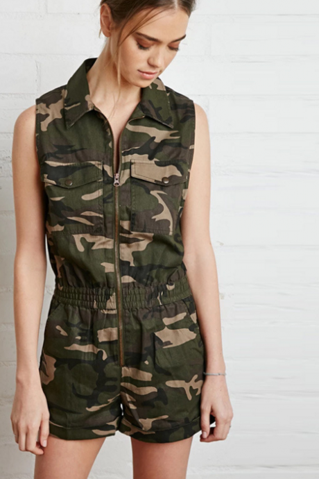 Sleeveless Army Camouflage Zip-up Romper