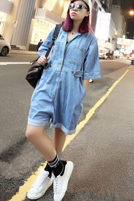 FASHION HOT BLUE ROMPER
