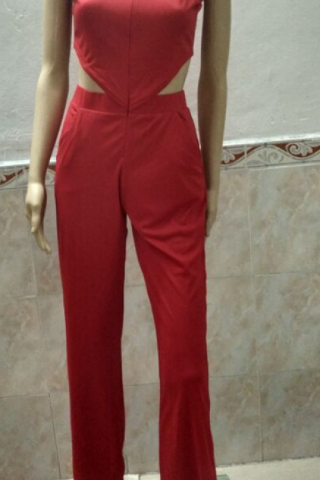 FASHION RED HOLE JUMPSUIT