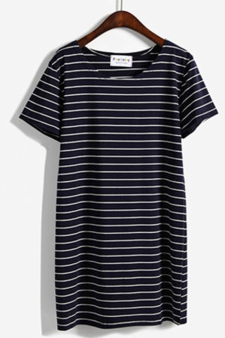 Striped Short T-Shirt Dress Featuring Crew Neckline