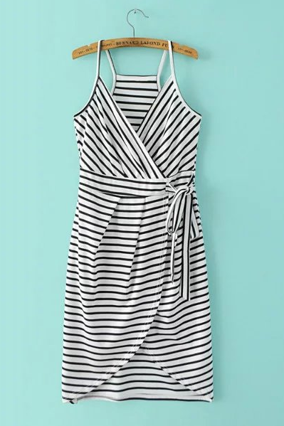 HOT STRIPE IRREGULAR STRAPS DRESS