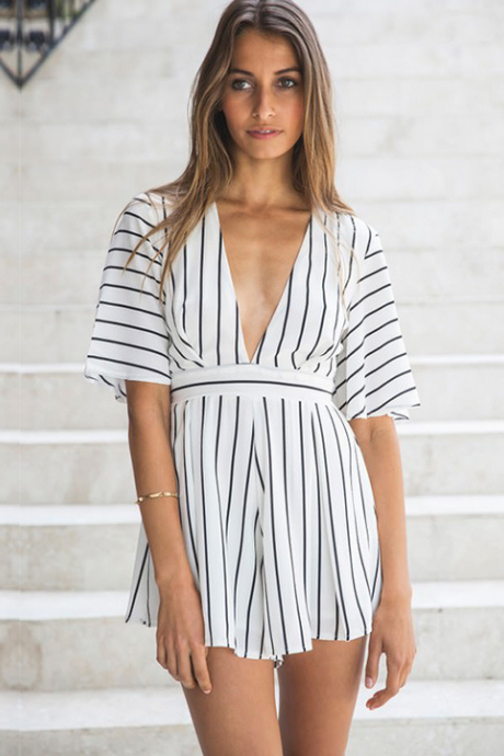 HOT STRIPE DEEP V ROMPER PLAYSUIT