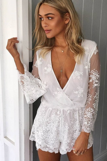FASHION PERSPECTIVE LONG SLEEVE LACE ROMPER PLAYSUIT