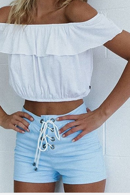 Ruffled Off-The-Shoulder Cropped Top in White or Black