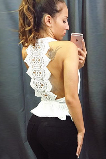 Hot lace backless sexy white lace top blouse