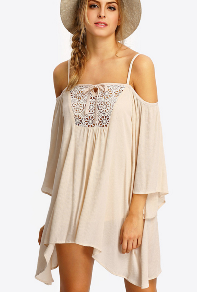 Lace Crochet Cold Shoulder Chiffon Short Shift Dress Featuring Lace-Up Back