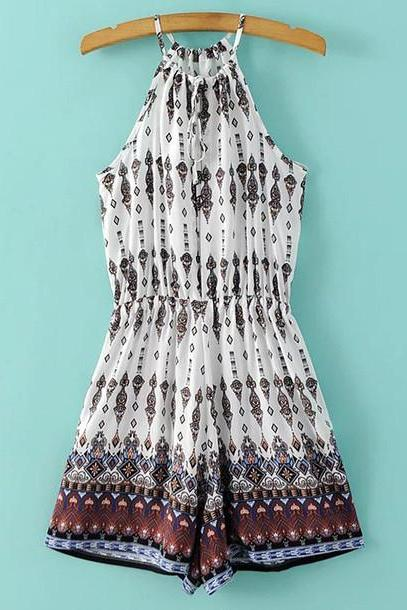 CUTE SEXY PRINT HIGH NECK ROMPER