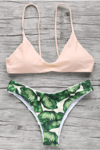 GREEN LEAF BOTTOM TWO PIECE BIKINI