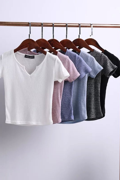 V-neck Formfitting Summer T-shirt