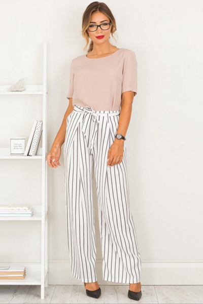 Large striped trousers wide leg pants bust