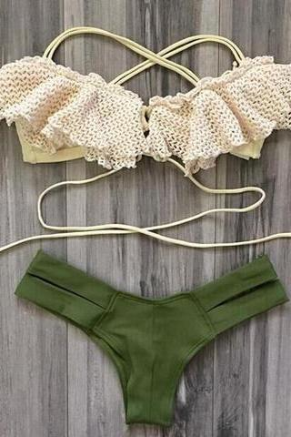 WHITE GREEN FALBALA TWO PIECE BIKINI