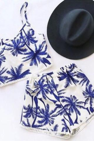 BLUE WHITE VEST TREE TWO PIECE BIKINI