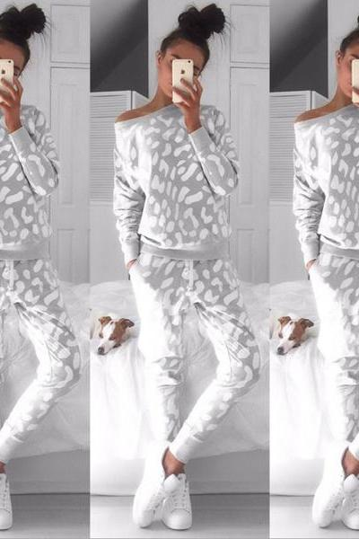 Printed fleece leisure sports suits Jumpsuit