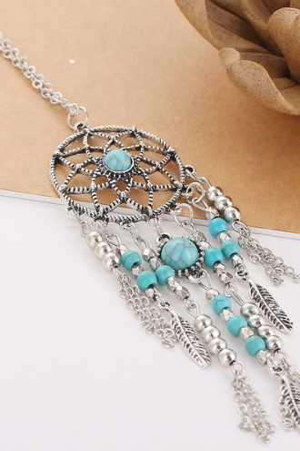 Retro fringed catwalk net long necklace