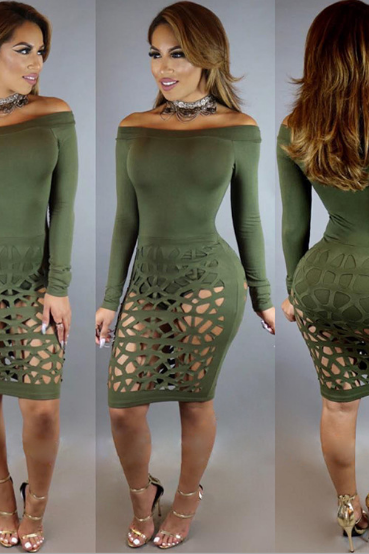 The new sexy word collar bandage military green dress burn