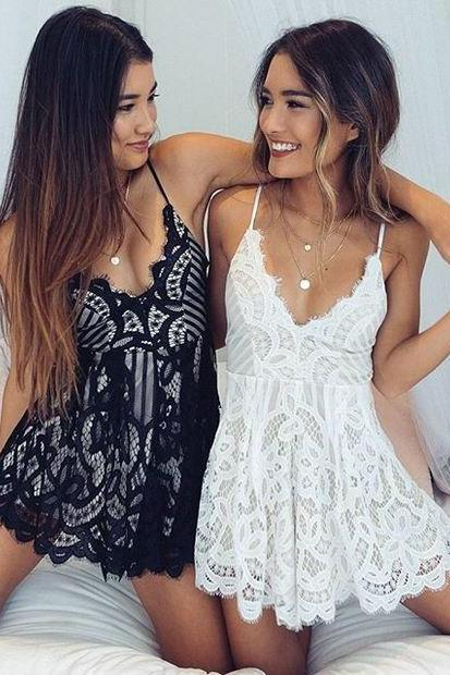 Lace Strappy Romper