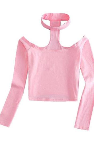 Pink Halter Off Shoulder Long Sleeve Crop Top Pink