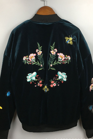Shiny Floral Embroidered Bomber Jacket
