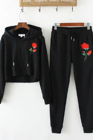 Embroidery hooded long-sleeved sweater women suit