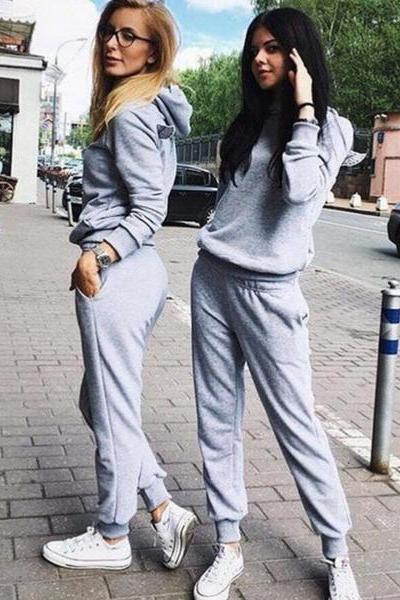 Fashion personality back wings hooded hedging two piece jumpsuit Grey