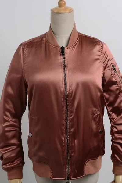Satin fleece jacket casual cotton jacket thick Pink