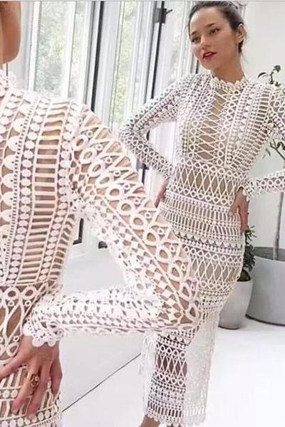 Turtle neck lace long sleeve two-piece dress fashion