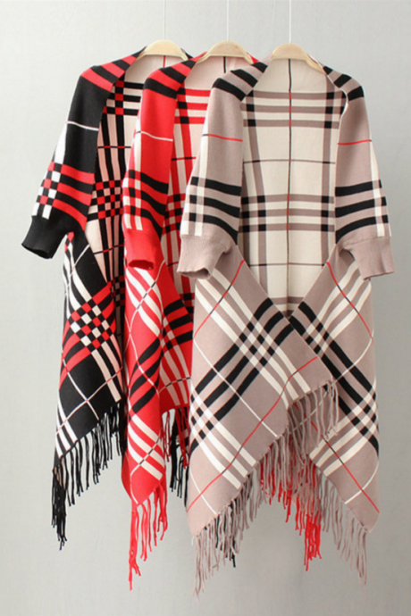 Autumn new plaid cape fringed shawl sweater coat cape