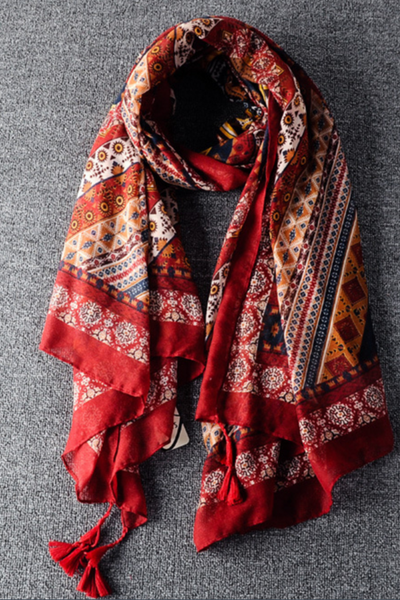 Fashion ethnic wind printing thin shawl fringed scarves