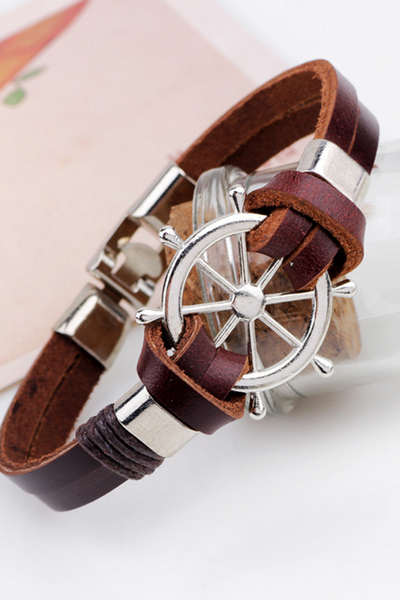Rudder head layer leather rope bracelets leather bracelet