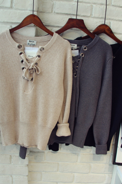 Knit Lace-Up Plunge V Long Sleeved Sweater