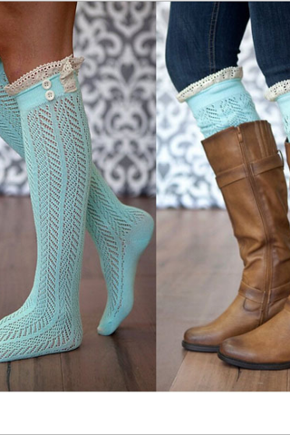 Knee-high socks fashionable wellies lace hollow-out leg warmers heap heap socks Lake blue