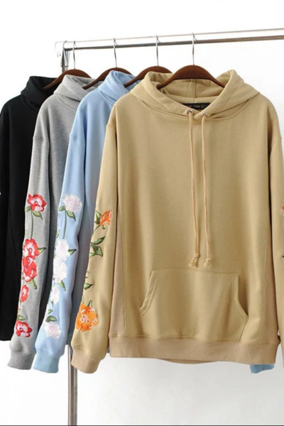 Floral Embroidered Sleeves Hooded Sweater
