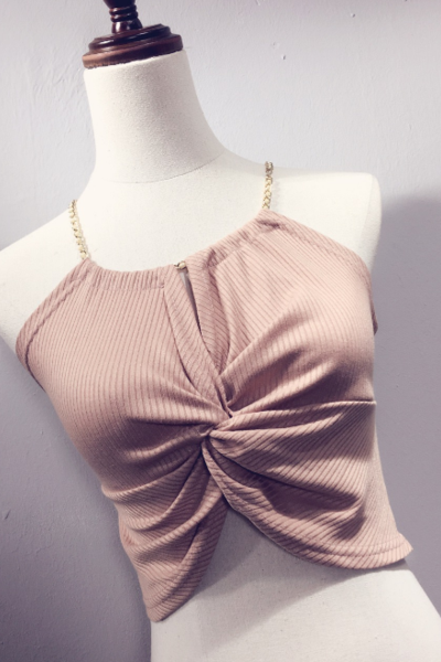 Sexy Dusty Pink Halter Neck Wrap Front Crop Top