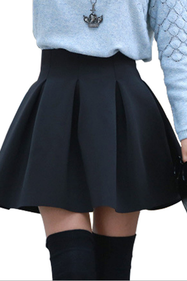 High Rise Ruffled Short Skater Skirt