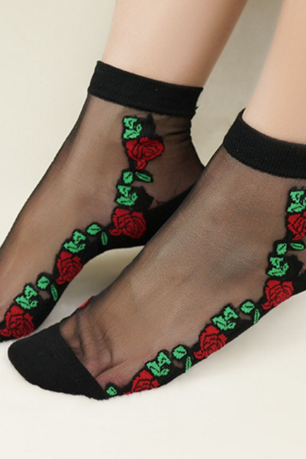 Silk crystal ship socks Shallow mouth short socks roses