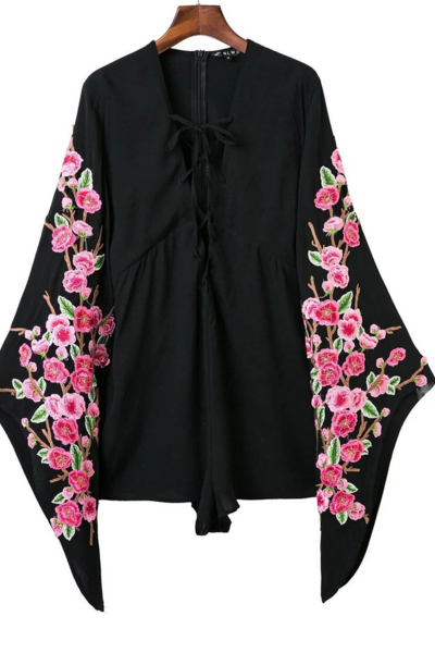 Flare Long Sleeve Floral Embroidered One-Piece Romper with Criss- Cross Lace-up - Black