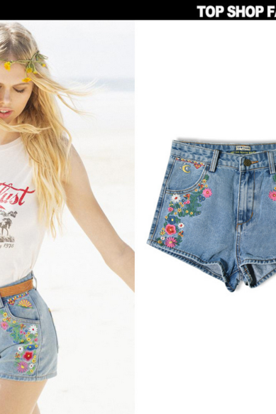 Embroidered High Rise Denim Shorts