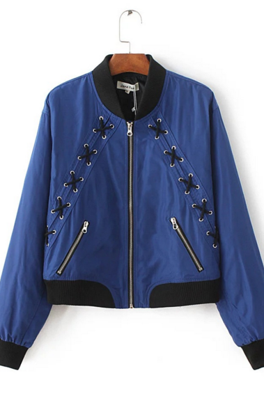Satin Bomber Jacket Featuring Lace-Up Eyelet Detailing
