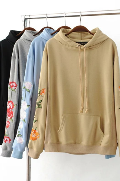 Floral Embroidered Pullover Hoodie
