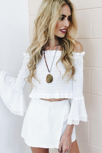 Ruffled Off-The-Shoulder Long Flare-Sleeved Cropped Top Featuring Lace Hem