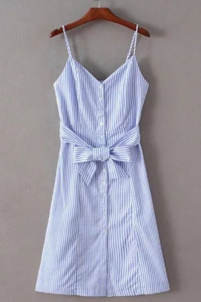 Harness waist belt front button Big put A word striped dress