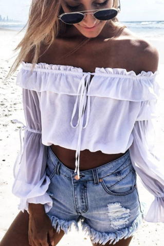 White Chiffon Ruffled Off-The-Shoulder Long Cutout Sleeved Cropped Top
