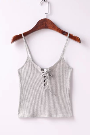 Sexy chest lace up small vest crop top halter vest White (5 color)