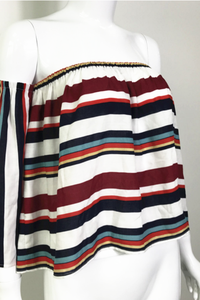 Colourful Striped Off-The-Shoulder Blouse Featuring Long Flare-Sleeved