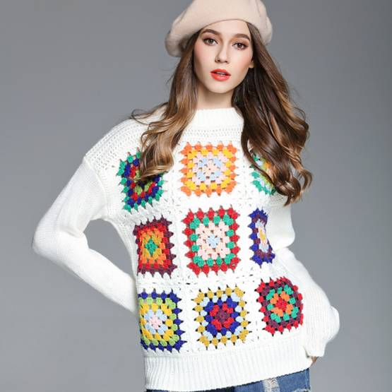 Autumn and Winter Knitted Sweater With Crochet Patchwork Pattern