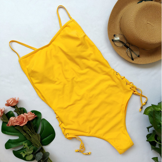 One-piece swimsuit hot style solid color eyedrop bikini - yellow