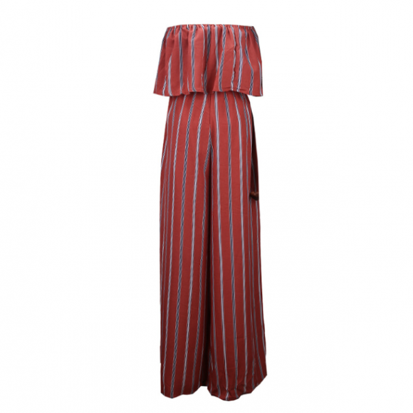 New striped pantsuit with one shoulder shoulder, chiffon top, and wide-leg pants with side slit